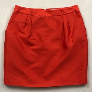 Kate Spade Orange silk mini pencil straight skirt